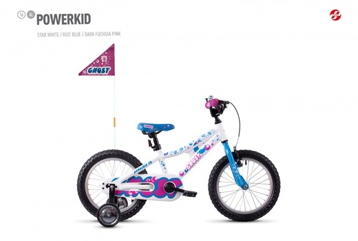 "dívčí kolo GHOST Powerkid 16"" white/blue/pink"